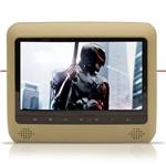 """Par DVD Player Tela para Encosto de Cabeça 9"""" LCD com Game USB Sd Bege"""