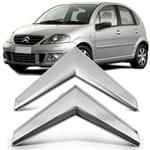 Par Emblema Citroen da Grade Dianteira Citroen C3 2009 a 2012 Cromado