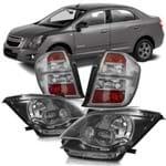Par Farol Cromomix + Par Lanterna Traseira Chevrolet Cobalt 2012 2013 2014 Fumê Claro