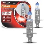 Par Lâmpada Super Branca Osram Night Breaker Unlimited H1 3900K 55W Efeito Xênon