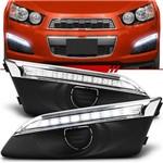 Par Moldura Grade do Milha Daylight Chevrolet Sonic 2012 2013 2014 LED Sem Furo