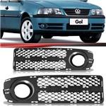 Par Moldura Grade do Milha Volkswagen Gol Parati Saveiro G3 2003 2004 2005 Fase 2 com Furo