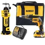 Parafusadeira Drywall Gesso 20v 2 Baterias C/ Bolsa Dewalt Dcf620 e Cortador de Gesso Dcs551b B3 Drywall
