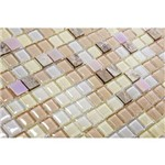 Pastilha de Vidro com Pedras Naturais e Metais TS401, Lilás, Bege e Branco 30x30