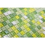 Pastilha de Vidro com Pedras Naturais e Metais TS404, Verde, Amarelo e Branco 30x30