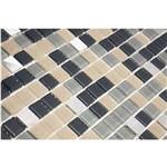 Pastilha de Vidro com Pedras Naturais e Metais TS452 Preto, Cinza, Bege e Branco 30x30