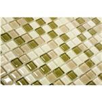 Pastilha de Vidro com Pedras Naturais e Metais TS456 Verde e Branco 30x30