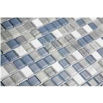Pastilha de Vidro com Pedras Naturais e Metais TS502 Azul, Cinza e Branco 30x30