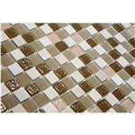Pastilha de Vidro com Pedras Naturais e Metais TS503 Marrom, Cinza e Branco 30x30