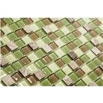 Pastilha de Vidro com Pedras Naturais e Metais TS500 Marrom, Verde e Cinza 30x30