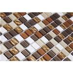 Pastilha de Vidro com Pedras Naturais e Metais TS505 Preto, Marrom e Branco 30x30