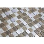Pastilha de Vidro com Pedras Naturais e Metais TS513 Cinza, Bege e Branco 30x30