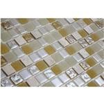 Pastilha de Vidro com Pedras Naturais e Metais TS511 Bege e Branco 30x30