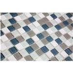 Pastilha de Vidro com Pedras Naturais e Metais TS517 Cinza e Branco 30x30