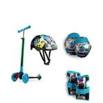 Patinete Infantil 3 Rodas Monsters com Luz de Led e Kit de Proteção Completo Es114 Átrio