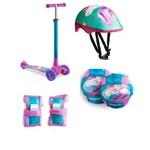 Patinete Infantil 3 Rodas Unicórnio com Luz de Led e Kit de Proteção Completo ES113 Átrio