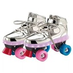 Patins com Led 4 Rodas Prata 37/38 8310-3 Fun
