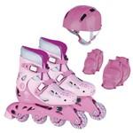 Patins Roller Ajustáveis com Kit Proteção Ad-01r Rosa Fênix - Tam 34 a 37