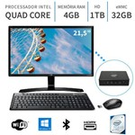 PC Mini Acoplado Monitor LG 21.5,Intel Quad Core 2.2Ghz,4GB,Serial,Windows 10,32GB+1TB,WiFi,3green