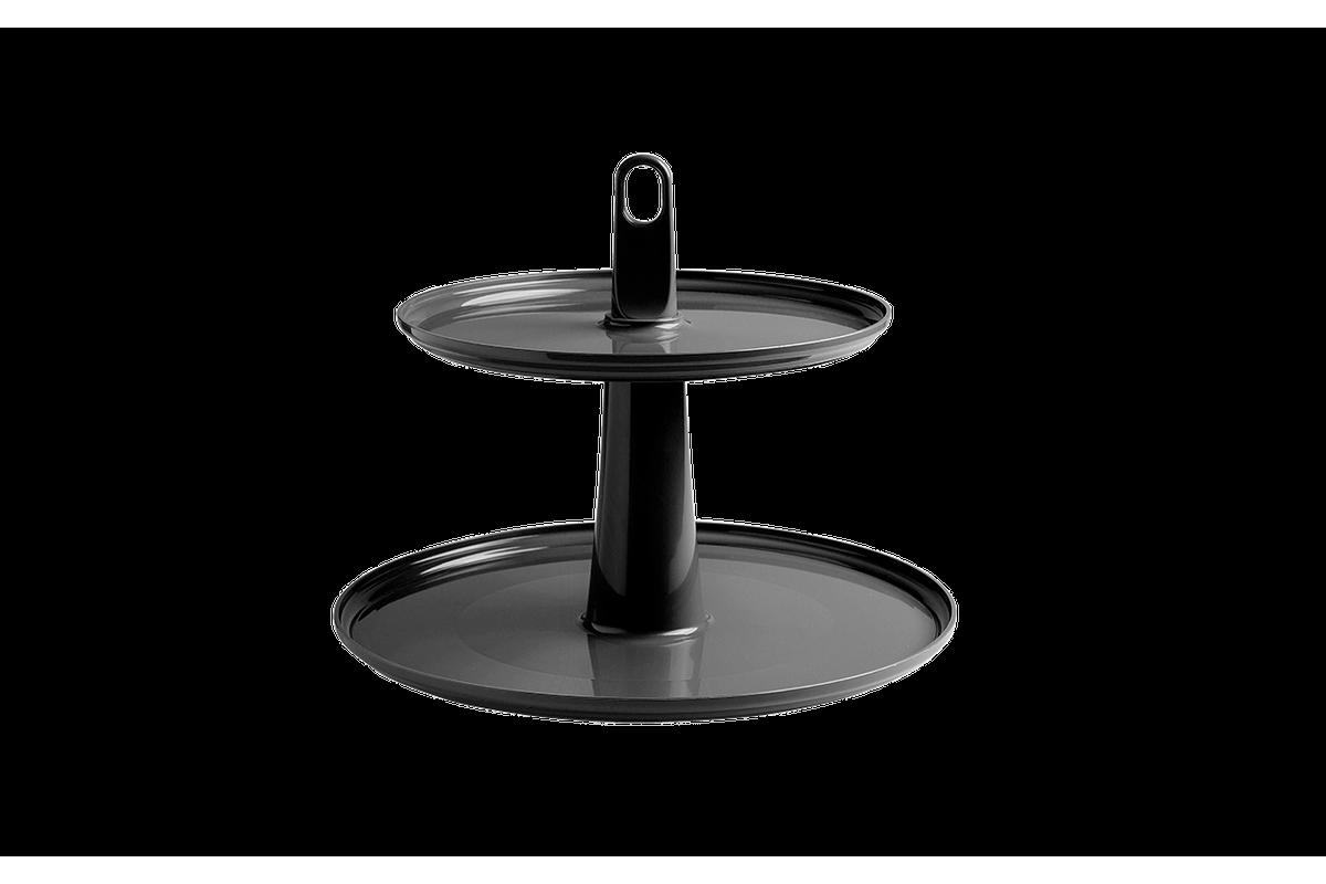 Pedestal Cake 2 Andares 32 X 32 X 27 Cm Preto Coza
