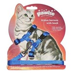 Peitoral Pawise com Guia para Gatos - Azul