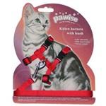 Peitoral Pawise com Guia para Gatos - Vermelho