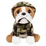 Pelúcia - 22 Cm - Cachorrinho - Bulldog Sentado - Militar - Buba