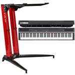 Piano Digital Yamaha P125 + Estante Stay 700/01 Vermelha