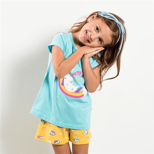 Pijama Blusa e Short Avulso Azul e Amarelo/p