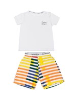 Pijama Calvin Klein Underwear Camiseta e Bermuda Modern Cotton Listras Branco - 4/6