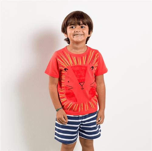 Pijama Camiseta e Short Pij.camiseta e Short Avulso Goiaba e Bco e Azul/p