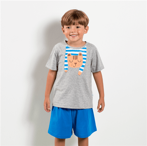 Pijama Camiseta e Short Pij.camiseta e Short Avulso Mescla e Azul/p