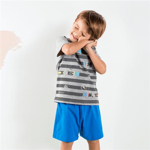 Pijama Camiseta e Short Pij.camiseta e Short Avulso Mescla e Azul Imperial/P