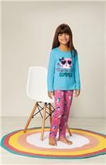 Pijama Estampado Malha Essence Menina Malwee Liberta Verde Água - 8
