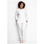Pijama Longo com Aplicação de Flores-off White 12001 - 205 P