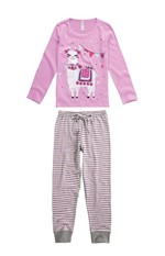Pijama Longo Malha Sustentável Menina Rosa Claro - 1
