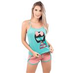 Pijama Short Doll Baby Gabriela em Viscose Verde Água / P
