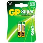 Pilha Alcalina AAA Palito GP Super C/ 2 Unidades