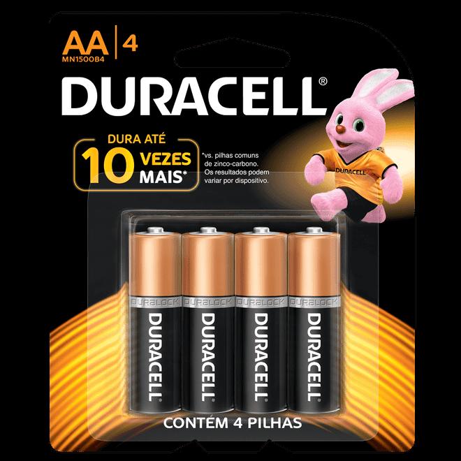 Pilha Alcalina Pequena AA com 4 Unidades MN1500B4 - Duracell