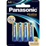 Pilha Panasonic Alcalina Premium Aa com 6 Unidades