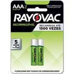 Pilha Recarregável Palito Aaa 650mah Eco Ray Rayovac Bl. com 02
