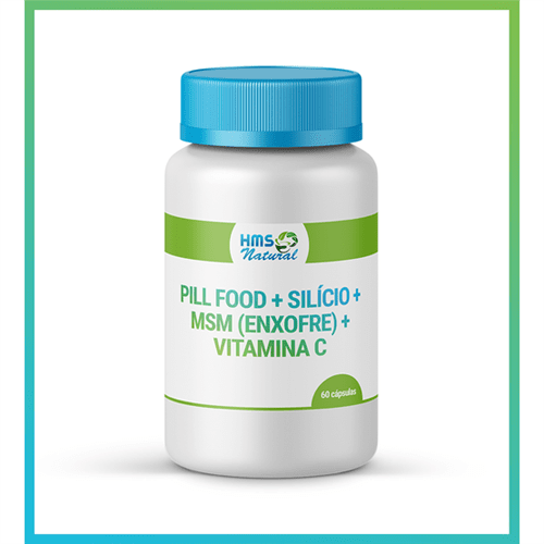 Pill Food + Silício + Msm (enxofre) + Vitamina C Cápsulas 60cápsulas