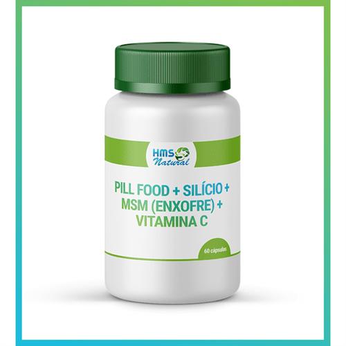 Pill Food + Silício + Msm (enxofre) + Vitamina C Cápsulas Vegan 60cápsulas