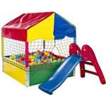 Piscina de Bolinhas - Medidas 1,10m X 1,10m - com 500 Bolinhas + Escorregador Baby Vermelho e Azul