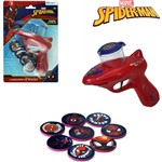 Pistola Lanca Disco com 8 Discos Homem Aranha Spider Man na Cartela
