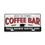 Placa Alumínio Expresso Coffee Bar Branco e Preto