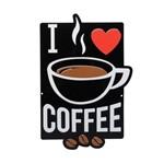 Placa Alumínio Expresso Love Coffee Preto e Branco