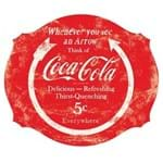 Placa Coca Cola Círculo e Flecha Vermelho Placa Decorativa Coca Cola Círculo e Flecha Vermelho