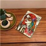 Placa de Bancada Decorativa Garota de Cabelos Coloridos