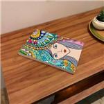 Placa de Bancada Decorativa Moça com Cabelos Coloridos
